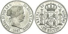 SPAIN COIN ISABEL II 1 ESCUDO 1867 MADRID PLATA SILVER ORIGINAL ESPECTACULAR!!!