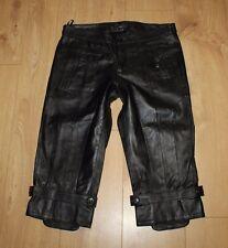 Amazing Black Leather MINUS Zip Biker Clubweat Shorts Capri Size 12 / 40 L 18