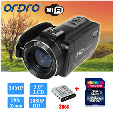 Ordro HDV-Z20 HD 1080p 24MP Full HD WiFi Video Camera Camcorder+2p Battery+32GB