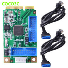 Mini PCI express to 4 USB 3.0 Ports adapter Card ITX to Dual 20Pin header Cable