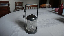 Antique Silver Pickle Castor With Tongs & Stand Clear Glass Jar