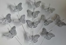 1 Pk 12 Silver Glitter Wired Stem Butterflies Wedding Table Decorations, Gifts