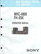 Sony original Operation MANUAL pour mhc-6800 FH-e9x