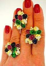 $3600 14K Yellow Gold Diamond Man-Made Sapphire Ruby Emerald Ring Earrings Suit
