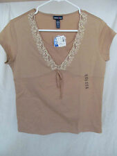 New Girl's Limited Too (Justice) XXXL 3XL 16/18 Dark Tan Shirt/Top Lace & Beads