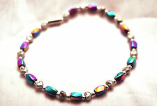 LADIES 10 INCH MAGNETIC THERAPY ANKLET: Rainbow Hematite & Silver Hearts 4 Pain