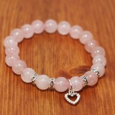 Unconditional Love, Rose Quartz Natural Gemstone Beaded Bracelet with Heart