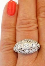 Art Deco 14K White Gold Diamond Handcrafted Openwork Vintage Horizontal Ring