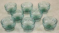 8 LIDO MILANO SHERBET DESSERT AQUAMARINE GLASS ANCHOR HOCKING AQUA BLUE CRINKLE
