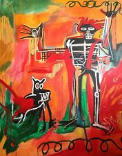 """ALDUS ORIGINAL """"Boy and dog in a Johnnypump"""" Jean-Michel Basquiat repro PAINTING"""
