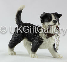 Border Collie Dog Figurine in Standing Pose With Lead in Mouth by Leonardo 24956
