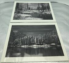 Lot Of 2 M. E. Woodward Signed B & W Photo Print Burned Forest Cabin Lake River