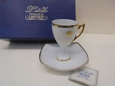 PORCELLANA LIMOGES L'etoile Tazzina+piattino con ORO 22k-Porcelain and gold cup