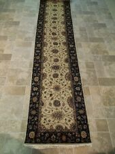 Beige Hand Knotted 2' 6' x 22' Agra Runner Traditional Wool Rug