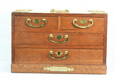 VINTAGE ASIAN LOOK ORNATE BRASS TRIM AND HANDLES WOOD 4 DRAWER JEWELRY BOX W/KEY