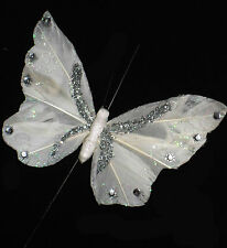 11cm Glitter Feather Butterfly Wire Ivory/Silver Wedding Flowers Gift Decoration