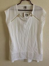Anne Klein Knit to Woven Top Blouse Tunic Shirt Tee L Large Solid White #Y1116