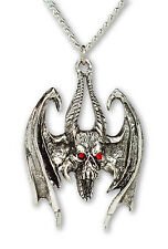 Gothic Winged Demon with Red Crystals Pendant Necklace NK-327