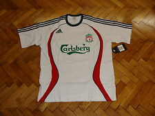Liverpool Soccer Tee Adidas Cotton Football Training Shirt Maglia Trikot White L