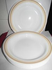 "5 Corelle ALMOND Flat Rimmed Soup Pasta Bowls Yellow Tan Rim 8.5"" EXCELLENT"
