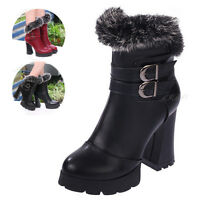 Fashion Womens Ladies Fur Buckle Ankle Boots Shoes Chunky High Heel Zip Platform