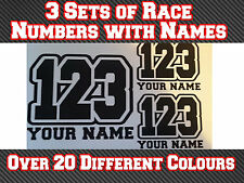 "3 Sets 7"" Race Number Name Vinyl Stickers Decals MX Motocross Track Bike Kart T3"
