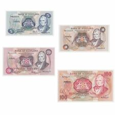 4 Bank of Scotland Notes, £5, £10, £20 and £100 all 75 numbers from end of run.