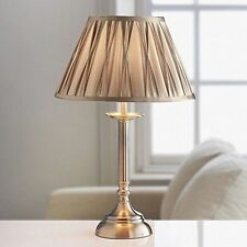 Brand New Light Golden Brown Finish Table Lamp With Satin Effect Shade