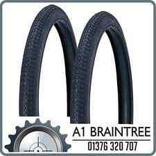 2x Duro 54-571 Tyre Black - Block Tread Butcher Bike Balloon Tire Rare