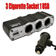 3-Port Car Cigarette Power Cigar Multi Socket Lighter Splitter 12V USB Adapter