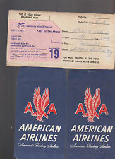 1956 American Airlines Ticket Envelopes & Pan American Gate Pass