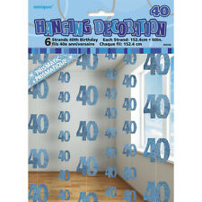6 Happy 40th Birthday Blue Sparkle Prismatic 5ft String Party Decorations