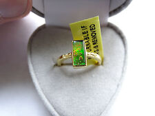 Genuine Canadian Ammolite & White Topaz 14K Y Gold/925 Ring Size L