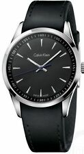 K5A311C1 Calvin Klein Bold Mens Watch Black Dial Black Leather Strap NEW 41mm