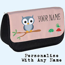 Personalised Woodland Owl Pencil Case / Makeup Bag. Custom Gift
