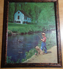 """1950'S 8 X 10 FRAMED BOY AND HIS DOG FISHING """"PATIENT PALS FOR THE LAKE COTTAGE"""