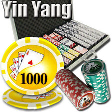 NEW 1000 PC  Yin Yang 13.5 Gram Clay Poker Chips Set Aluminum Case Pick Chips