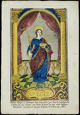 santino incisione 1800 S.LUCIA V.M. dip. a mano