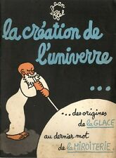RARE EO PUBLICITAIRE GLACE + MIROITERIE + JEAN EFFEL  LA CRÉATION DE L'UNIVERRE