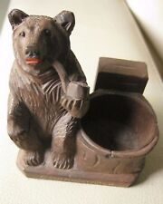 Antique black forest bear smoking a pipe. Match holder? Very decorative.