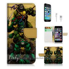"""iPhone 6 (4.7"""") Print Flip Wallet Case Cover! TNMT Ninja Turtle Cartoon P0088"""