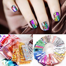 20PCS Laser Foils Stickers Finger DIY Nail Art Decal Water Transfer Tips Decor