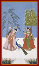 India Miniature Painting Reproduction: Two Ladies on a Terrace - Fine Art Print