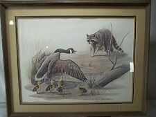 """""""The Challenge"""" Print By Artist Justin Young 1976 Goose Raccoon Hunting Outdoors"""
