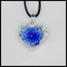 Fashion Women's heart lampwork Murano art glass beaded pendant necklace #Q26