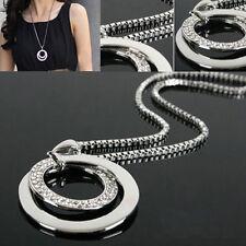 Damen Halskette Kristall Strass Kreis Anhänger Lange Kette Silber Modeschmuck