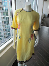 Vintage Embroidered Dress Yellow With Flowers Cheong Sam Chinese Cheongsam Qi Pa