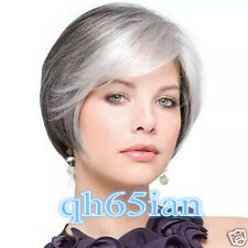 Women ladies short Black mix Grey Straight Synthetic Cosplay Wigs + wig cap