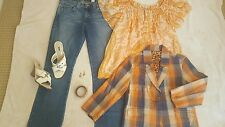 Women's Size 8 (M) Outfit 6 Pieces Jeans Top Jacket Shoes Earrings and Bracelet
