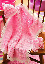PRECIOUS Rosebuds Baby Afghan/Hat/Booties/Crochet Pattern INSTRUCTIONS ONLY